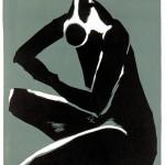 D-004: Hockende, 1977, 50x32cm, Lithografie auf weißem Papier