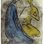 D-017/2: Zwei Menschen, 1965, 39,8x31,2cm, Holzschnitt auf Aquarellpapier