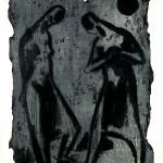 D-009: Zwei Menschen, 1961, 76,6x56,3cm, Gravure zweifarbig