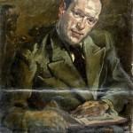 M-014: Männerportrait mit altem Stuhl und Buch, ca. 1949, 73,5x53,5cm, Öl auf Leinwand