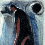 M-154: Komposition Schwarz-Blau-Rot, 1961, 91x60cm, Öl auf Leinwand