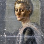 M-015: Frauenportrait mit Stola, ca. 1945, 70x45cm, Öl auf Leinwand