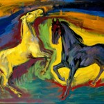 M-161: Pferde auf der Weide, 1960, 70x90cm, Kasein auf Holz