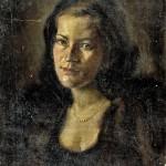 M-016: Frauenbildnis mit Perlenkette, 1945, 57x44cm, Öl auf Leinwand