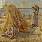 M-023: Bauern bei der Kornernte am Meer, 1949, 60x78,5cm, Öl auf Leinwand
