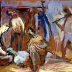 M-273: Fischerkomposition, 1988, 56x76cm, Öl auf Holz