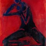 M-277: Komposition Rot-Schwarz, 1975, 100x72cm, Mischtechnik auf Leinwand
