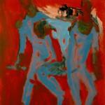 M-308: Komposition Rot-Blau, 1991, 80x60cm, Gouache auf Leinwand