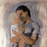 M-031: Mutter und Kind, 1949, 190x90cm, Tempera auf Papier