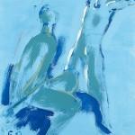 M-321: Komposition Blau, 1990, 60x50cm, Öl auf Leinwand