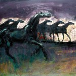 M-371: Pferde im Sturm, 1977, 66x80cm, Öl auf Leinwand