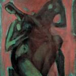 M-376: Komposition Rot-Grün-Braun, 1976, 115x80cm, Öl auf Leinwand