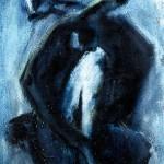 M-390: Komposition Blau-Schwarz, 1975, 80x60cm, Mischtechnik auf Leinwand
