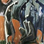 M-413: Komposition Rot-Grau-Blau, 1980, 120x100, Öl auf Leinwand