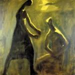 M-417: Zwei Menschen (Mondscheinsonate), 1981, 110x92cm, Mischtechnik auf Leinwand