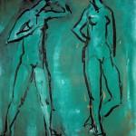 M-419: Komposition Grün, 1982, 90x70cm, Mischtechnik auf Leinwand