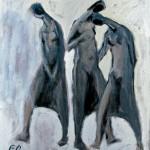 M-433: Komposition Warm-Kalt, 1986, 90x80cm, Mischtechnik auf Leinwand