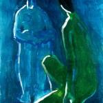 M-435: Komposition Gelb-Blau, 1989, 100x70cm, Mischtechnik auf Leinwand