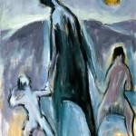 M-441: Mutter mit zwei Kindern, 1987, 100x80cm, Öl auf Leinwand