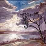 M-050: Licht durch Wolken auf dem Diecksee, 1958, 50x70cm, Öl auf Hartfaser