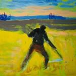 M-529: Der Mäher, ca. 1991, 70x80cm, Öl auf Leinwand