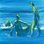 M-530: Menschen am Meer, 1991, 60x50cm, Gouache auf Leinwand
