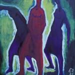 M-609: Komposition Grün-Rot, 1975, 100x90,5cm, Öl auf Leinwand