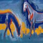 M-613: Komposition Pferde, 1968, 54x90cm, Mischtechnik auf Leinwand