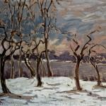 M-071: Blick vom Inselhof, 1959, 48x68cm, Öl auf Holz