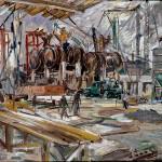 M-073: Chemische Werke Hüls, Marl, 1959, 50x70,5cm, Öl auf Holz