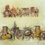 Z-296: Entwurf für Wandplastik, 1969, 31x40,2cm, Buntstift, Kreide, Kohle auf Karton